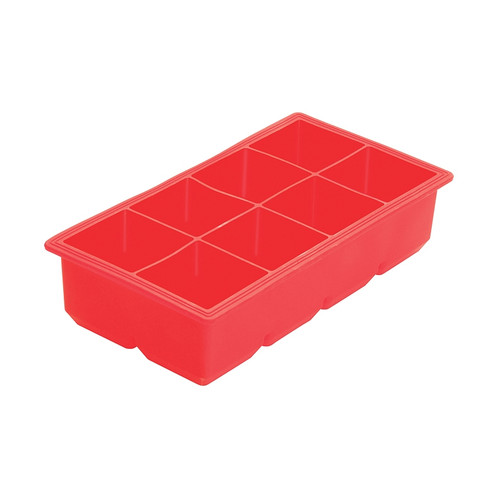 """Winco ICCT-8R Red Silicone 8 Compartment 2"""" Ice Cube Tray"""