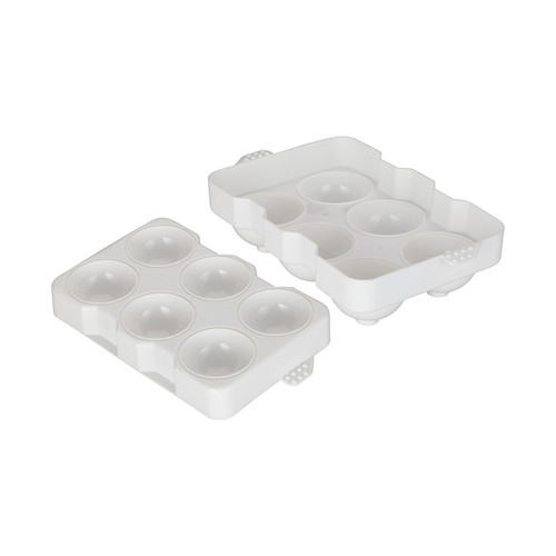 "Winco ICCP-6W White Plastic 6 Compartment 2"" Spherical Ice Mold"