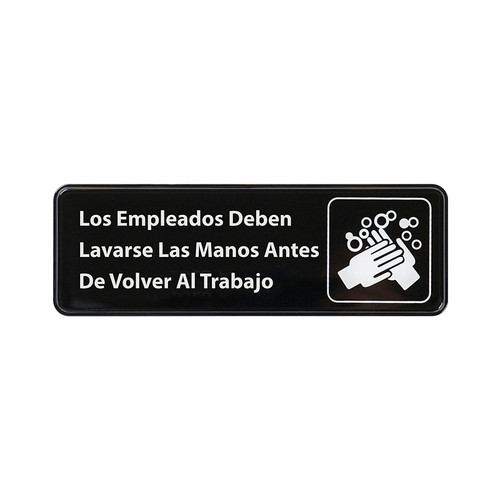 """Winco SGN-360 Sign, Spanish, 3""""x9"""", Employees Must Wash Hands"""