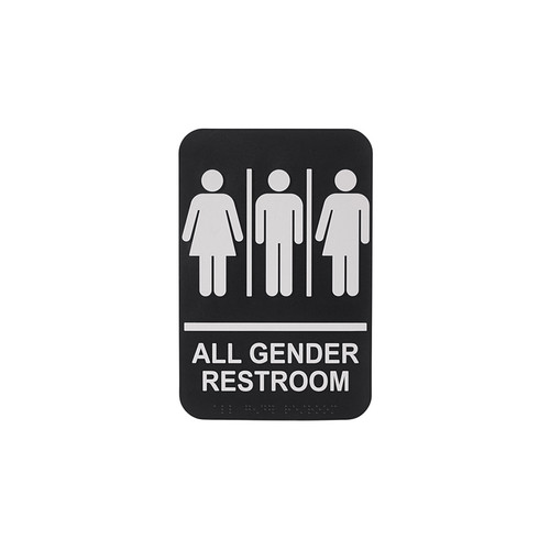 """Winco SGNB-607 9"""" x 6"""" All Gender Restroom Sign with Braille"""