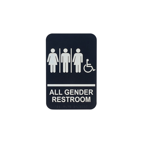 """Winco SGNB-608 9"""" x 6"""" All Gender Restroom w/ Accessible Sign with Braille"""