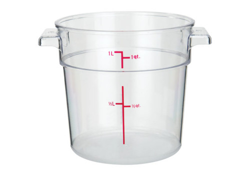 Winco PCRC-1 Round Food Storage Container, 1 qt, Clear Polycarbonate