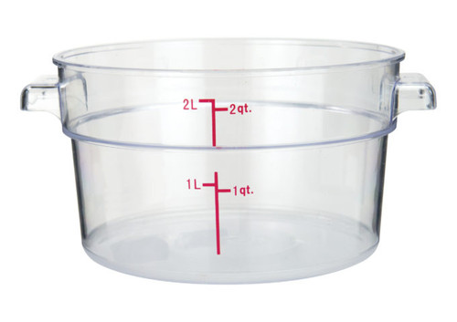 Winco PCRC-2 Round Food Storage Container, 2 qt, Clear Polycarbonate