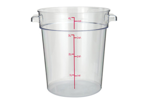 Winco PCRC-4 Food Storage Container, 4 qt, Round, Clear