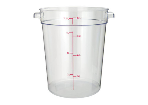 Winco PCRC-8 Round Food Storage Container, 8 qt, Clear Polycarbonate