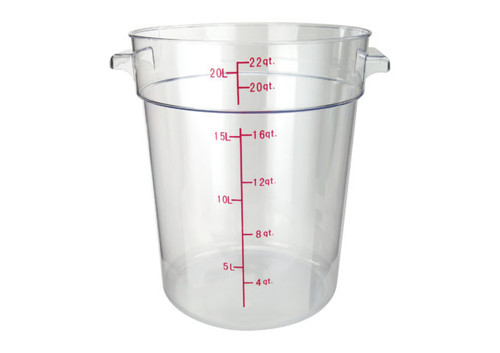 Winco PCRC-22 Round Food Storage Container, 22 qt, Clear Polycarbonate