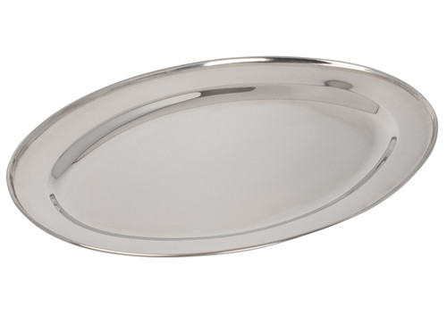 """Winco OPL-18 Platter, 18"""" x 11-1/2"""", Oval, Stainless"""