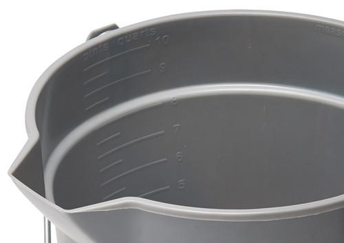 Winco UPP-10G Gray Utility Pail, 10 qt., with Pour Spout & Molded-in Graduations