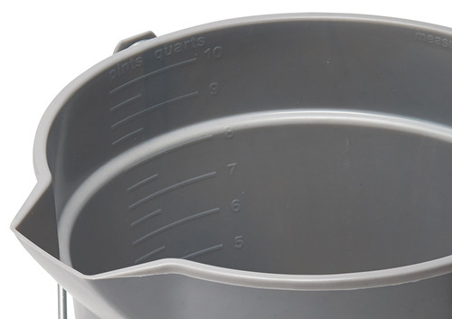 Winco UPP-10R Red Utility Pail, 10 qt., with Pour Spout & Molded-in Graduations