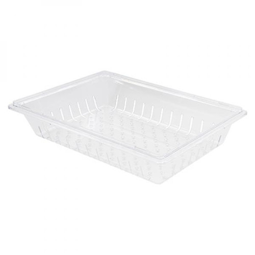 "Winco PFSF-5C Clear Polycarbonate Food Box Colander, 5"" Deep"