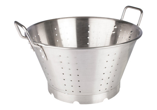 Winco SLO-16 Stainless Steel Colander with Handles & Base, 16 Qt.