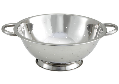 """Winco COD-3 Stainless Steel Colander with Handles and Base - 3 Qt., 11"""" Dia"""