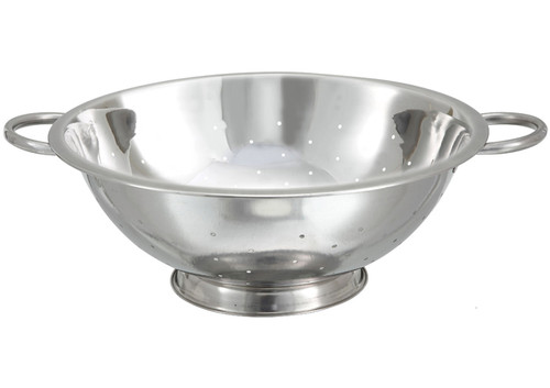 """Winco COD-8 Stainless Steel Colander with Handles and Base - 8 Qt., 14"""" Dia"""