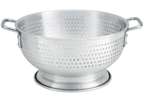 """Winco ALO-11BH Aluminum Colander with Handles and Base - 11 Qt., 15"""""""