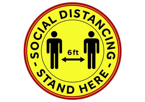 "Winco PFD-12Y Floor Decal, 12"" Round, Social Distancing, Anti Slip"