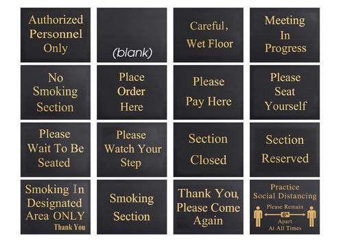 "Winco HTS-60K Hostess Sign Set, 60""H, includes 15 Messages"