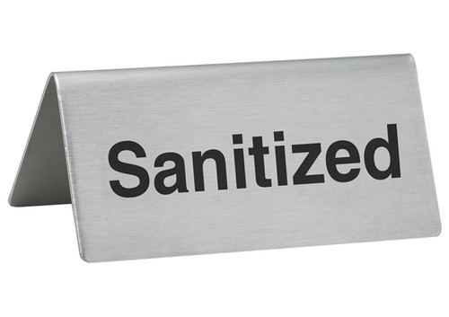"""Winco SGN-106 3""""x1-1/2"""" Stainless Steel Table Tent """"Sanitized"""" Sign"""