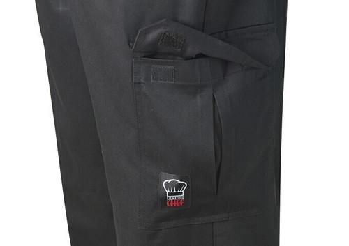 Winco UNF-11KM Universal Chef Pants, Drawstring, Black, Medium