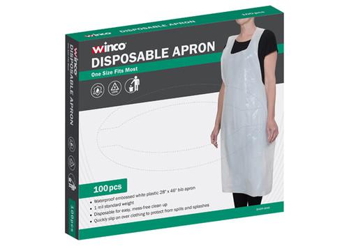 "Winco BADP-2846 White Plastic Disposable Bib Apron, 46"" x 28"", 100 pieces/Box"