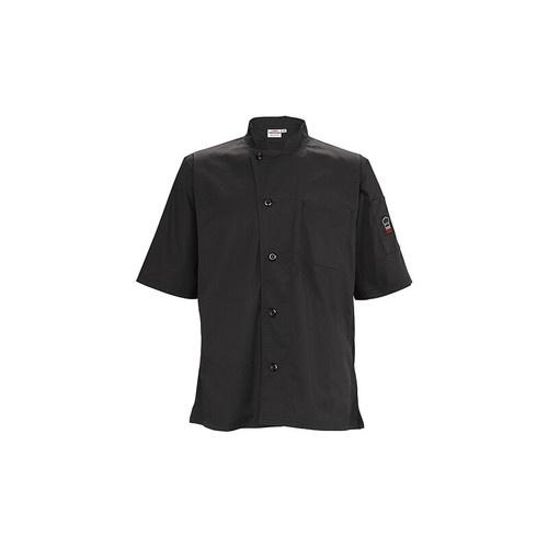 Winco UNF-9K3XL Unisex Chef Shirt, Ventilated, Tapered Fit - Black, 3X-Large