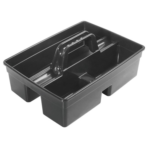 "Winco PJC-1511K Black Janitorial Caddy, 3-Compartments, 15-1/4"" x 10.75"""
