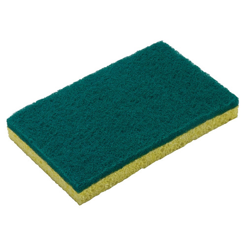 "Winco SP-SC63 Scrub Sponge, 6"" x 3-5/8"", Green & Yellow (3pc/pack)"