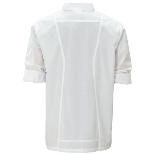 Winco UNF-12WM Chef Jacket, Roll Tab Long Sleeve, White, Medium