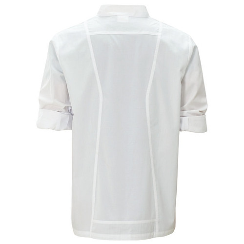 Winco UNF-12WS Chef Jacket, Roll Tab Long Sleeve, White, Small