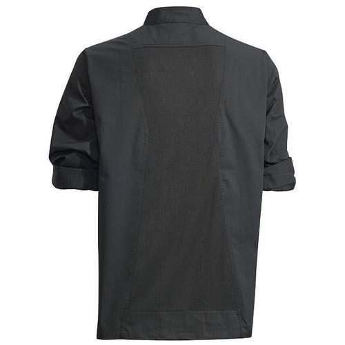 Winco UNF-12KM Chef Jacket, Roll Tab Long Sleeve, Black, Medium