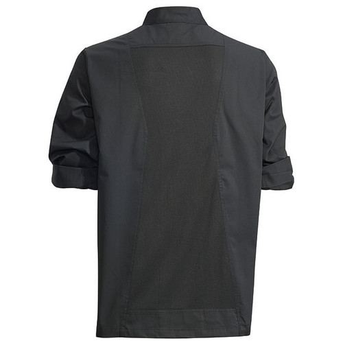 Winco UNF-12KL Chef Jacket, Roll Tab Long Sleeve, Black, Large