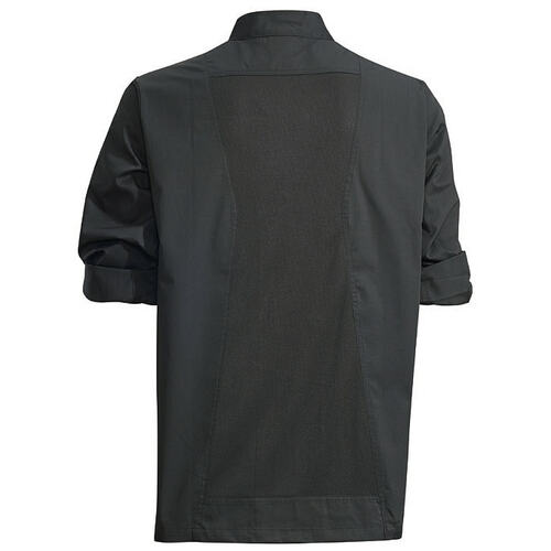 Winco UNF-12KXL Chef Jacket, Roll Tab Long Sleeve, Black, X-Large