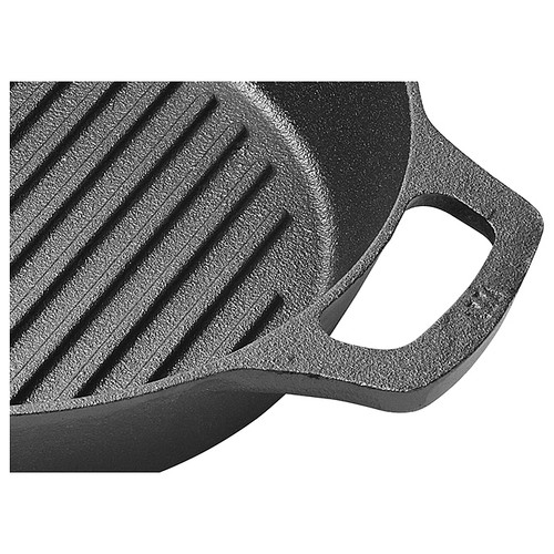 """Winco CAGP-10R FireIron Cast Iron Grill Pan, 10-1/4"""", Round, Induction Ready"""