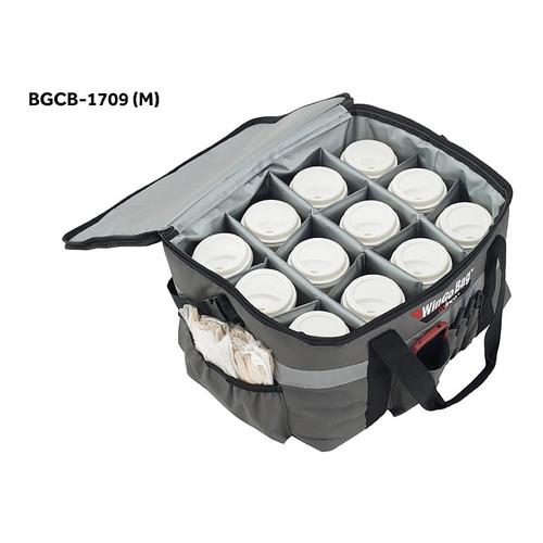 "Winco BGCB-1709 WinGo Bag Catering Bag with Beverage Divider, Medium, 17"" x 13"" x 19"", Gray"