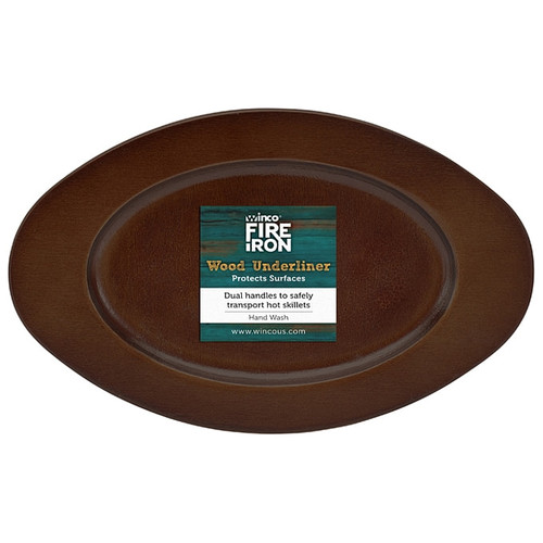 """Winco CASM-6OUL Oval Wood Underliner with Dual Handles, 6"""" x 9"""""""