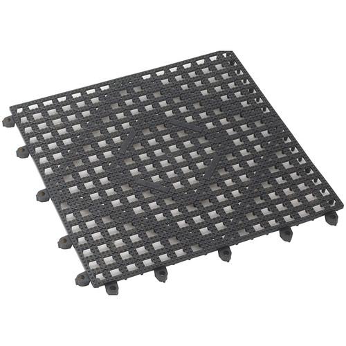 "Winco BML-12K Interlocking Bar Mat, 12"" x 12"", Dark Smoke, Plastic"