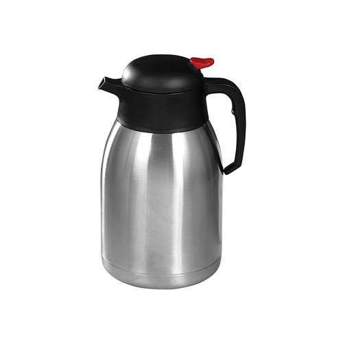 Winco CF-2.0 Thermal Carafe, Stainless Steel Lined, Push Button, 2 Liters