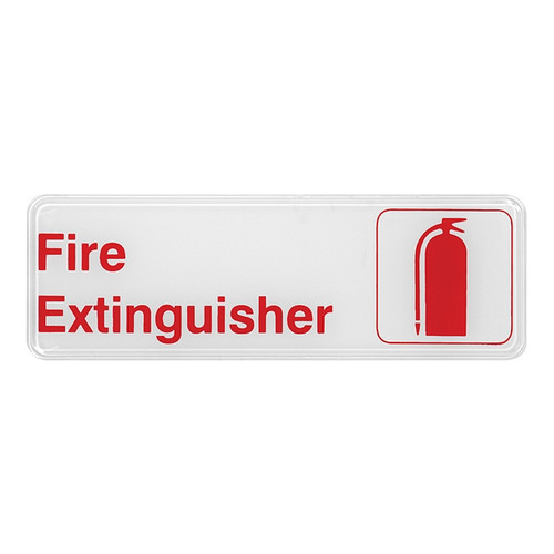 """Winco SGN-382W Fire Extinguisher Sign, 9"""" x 3"""", Red & White"""