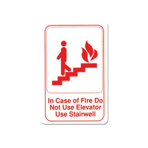 "Winco SGN-683W ""In Case of Fire Do Not Use Elevator Use Stairwell"" Sign, 9"" x 6"", Red & White"