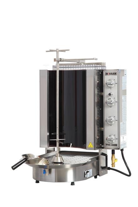 Inoksan PDG400NR Natural Gas Gyro Machine, 8 Burner, Robax Glass