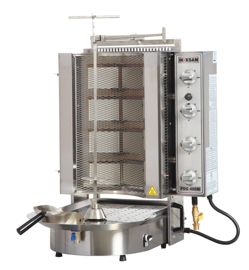 Inoksan PDG400NM Natural Gas Gyro Machine, 8 Burner, Wire Mesh