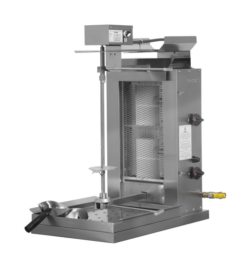 Inoksan PDG102M Natural Gas Gyro Machine, Top Motor, 2 Double Burner, Wire Mesh