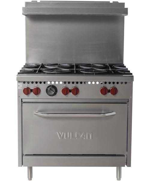 Vulcan SX36-6BN 198,000 Btu Natural Gas Restaurant Range, 6 Burner, Standard Oven, SX Series (SX36-6BN)