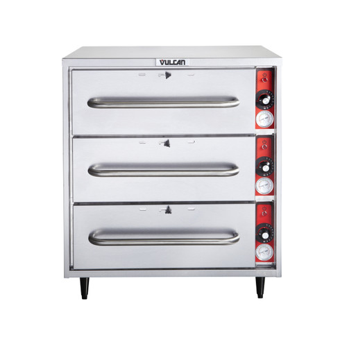 Vulcan VW3S-1M0ZX 1,425 Watt Electric Food Warmer, 3 Drawer, Free Standing (VW3S-1M0ZX)