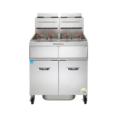 Front view of Vulcan 2TR45AF-1 140,000 Btu Natural Gas Free Standing Fryer with Filtration, 90 Lb, TR Series (2TR45AF-1)