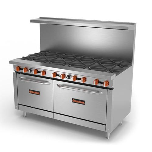 """Sierra SR-10-60 60"""" Gas Range w/ Ovens - 10 Burner, 364K BTU"""