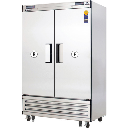 """Everest Refrigeration EBSRF2 49.63"""" Two Section Solid Door Upright Reach-In Dual Temp Refrigerator/Freezer Combo"""