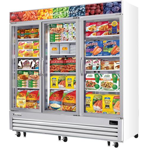"""Everest Refrigeration EMGF69 74.75"""" Triple Swing Glass Door Merchandiser Freezer - 69 Cu. Ft."""