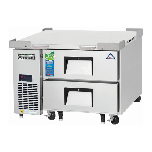 """Everest Refrigeration ECB36D2 36.38"""" One Section Two Drawer Side Mount Refrigerated Chef Base - 115V"""
