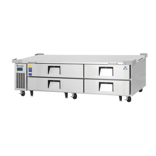 """Everest Refrigeration ECB82D4 82.38"""" Two Section Four Drawer Side Mount Refrigerated Chef Base - 115V"""