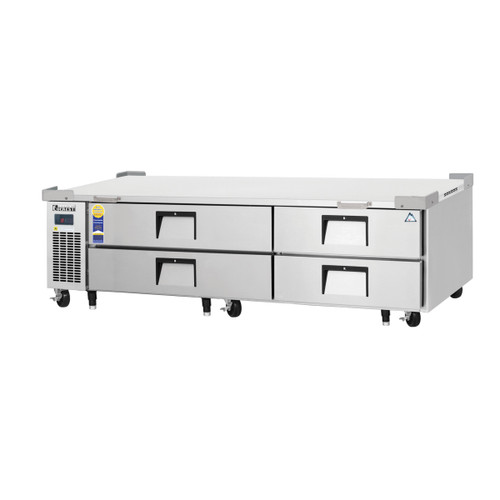 """Everest Refrigeration ECB82-84D4 84"""" Two Section Four Drawer Side Mount Refrigerated Chef Base - 115V"""